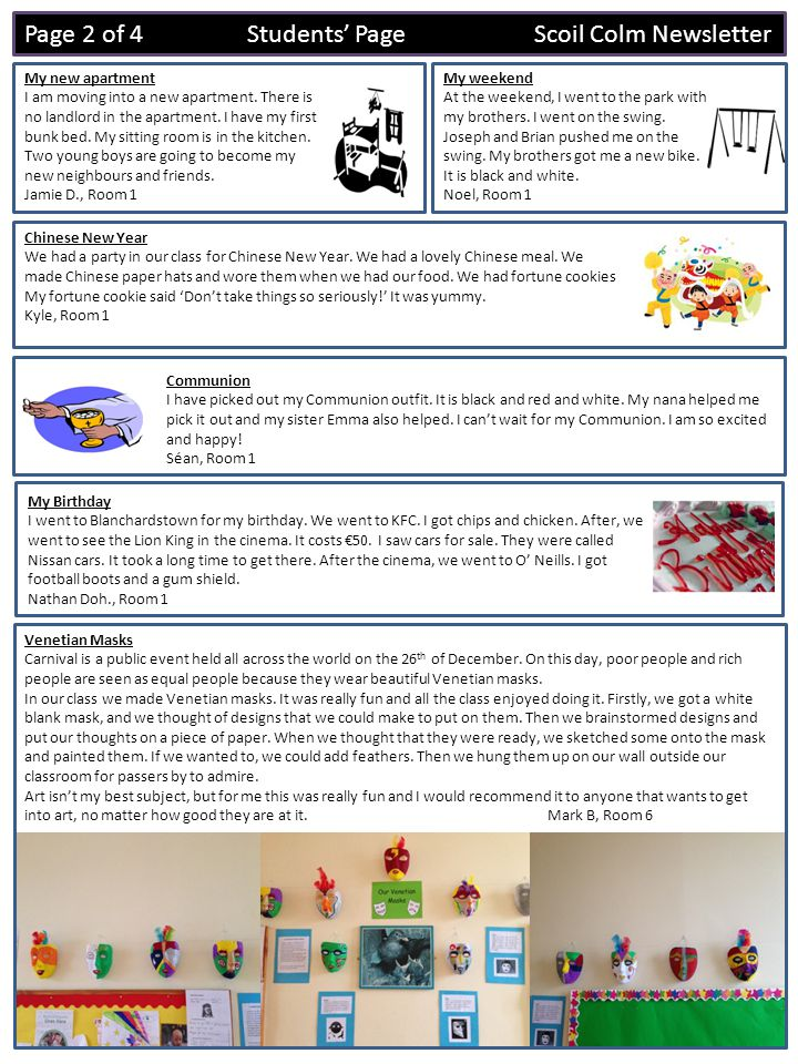 Page 3 of 4 Students Page Scoil Colm Newsletter Credit Union Art Competition winners Congratulations to the three winners of Crumlin Credit Union Art Competition 2014.