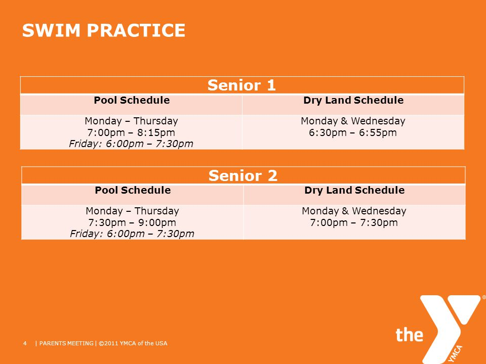 SWIM PRACTICE 4| PARENTS MEETING | ©2011 YMCA of the USA Senior 1 Pool ScheduleDry Land Schedule Monday – Thursday 7:00pm – 8:15pm Friday: 6:00pm – 7:30pm Monday & Wednesday 6:30pm – 6:55pm Senior 2 Pool ScheduleDry Land Schedule Monday – Thursday 7:30pm – 9:00pm Friday: 6:00pm – 7:30pm Monday & Wednesday 7:00pm – 7:30pm