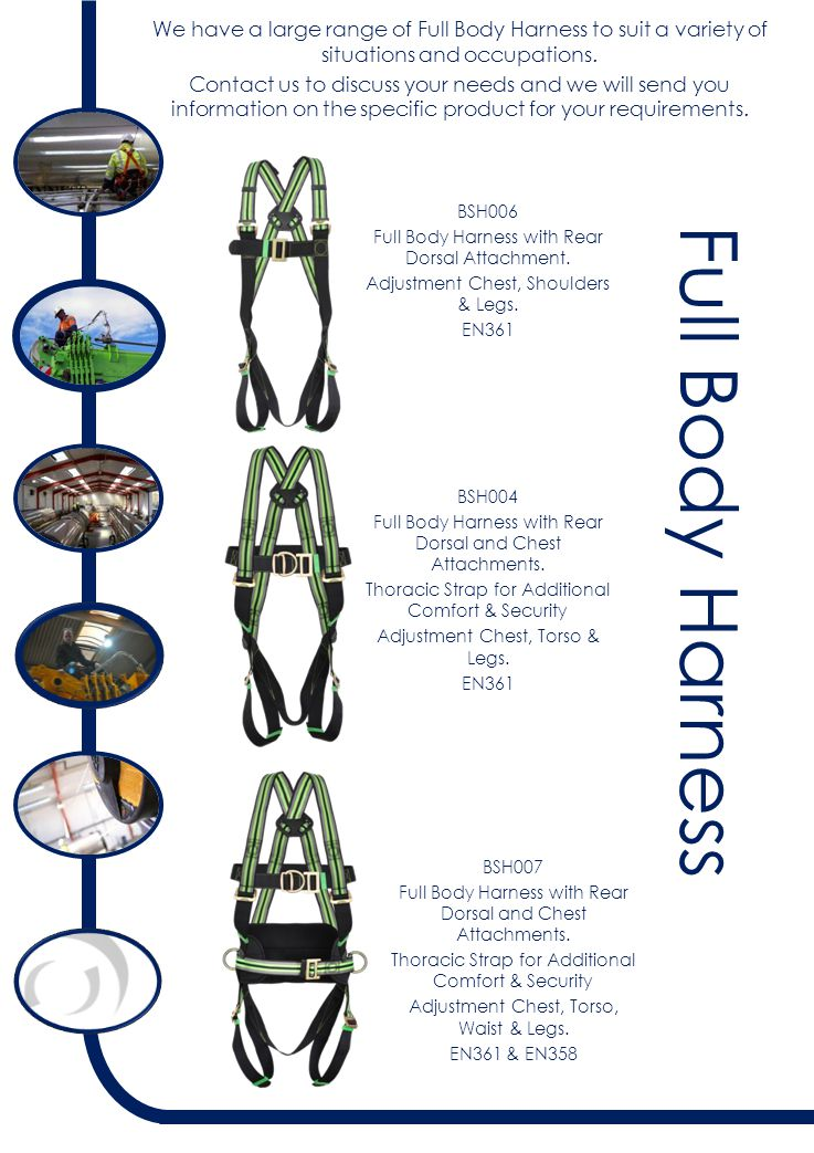 Full Body Harness BSH006 Full Body Harness with Rear Dorsal Attachment.
