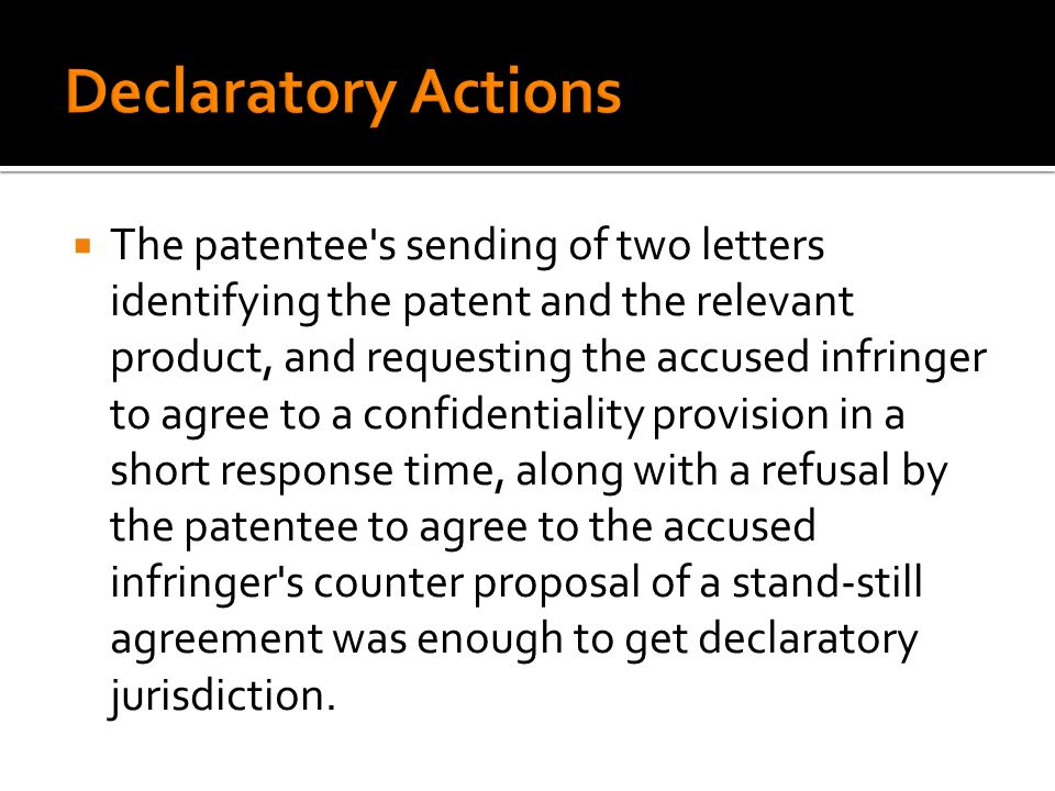 The patentee's sending of two letters identifying the patent and the relevant product, and requesting the accused infringer to agree to a confidential