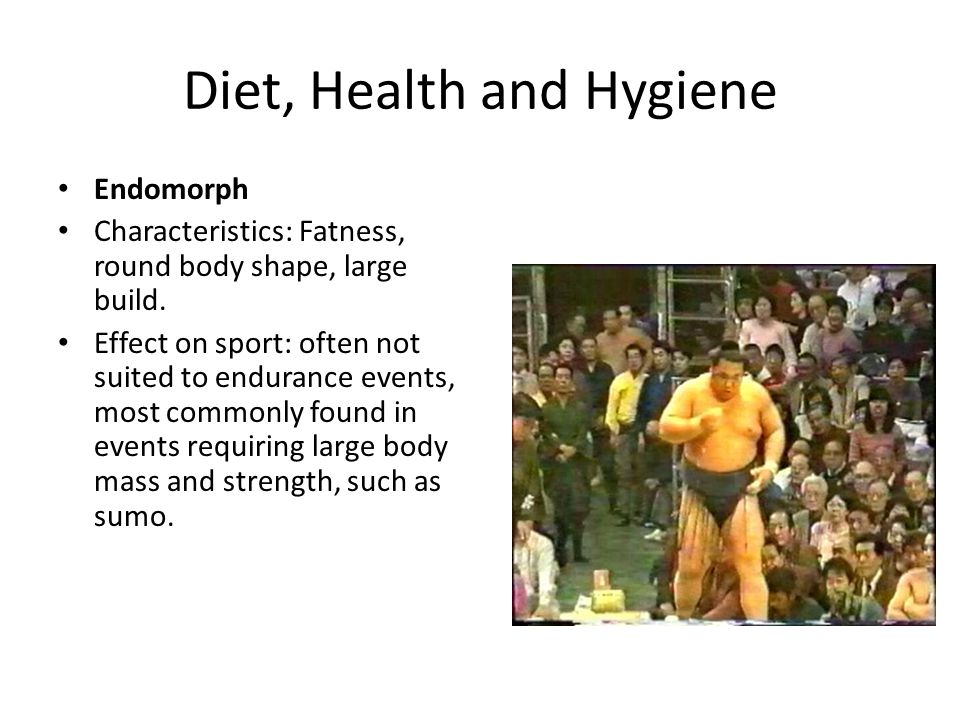 Diet, Health and Hygiene Endomorph Characteristics: Fatness, round body shape, large build. Effect on sport: often not suited to endurance events, mos
