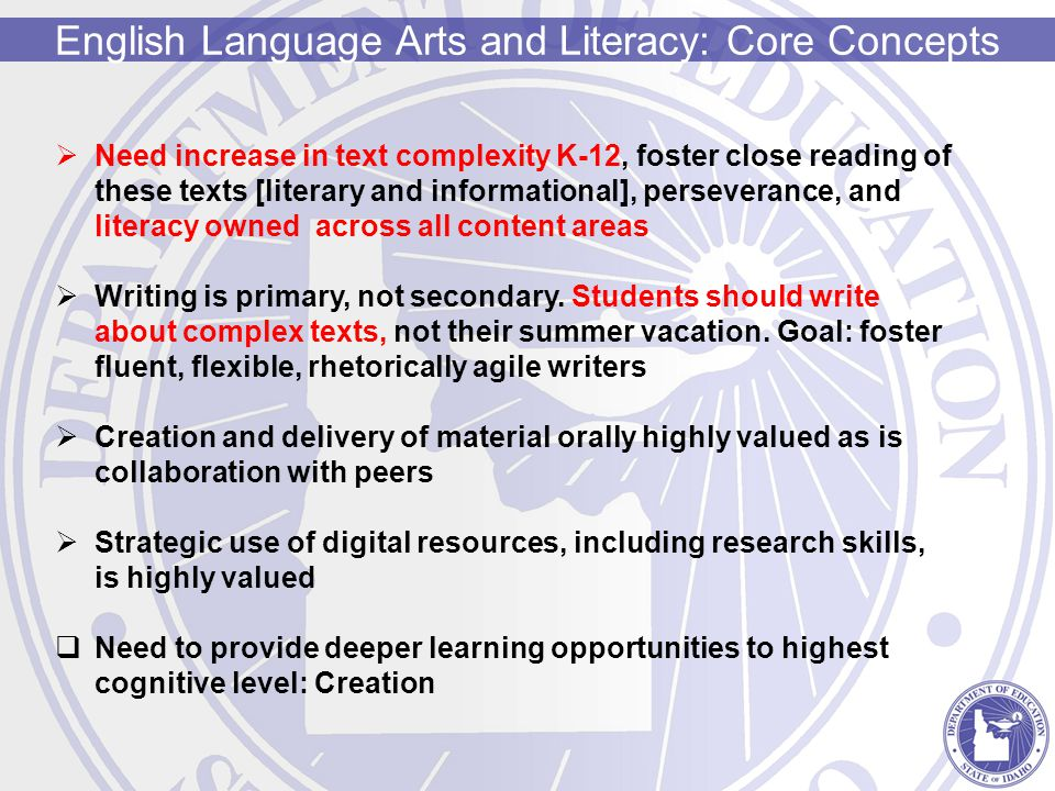 Mathematics: Core Concepts Fewer concepts, deeper dive into each [more rigor] Emphasis on conceptual and procedural understanding-not rote memorization of formulas Clear Learning Progression across grades Emphasize Math Practices-skills needed to indicate proficiency: Make sense of problems and persevere in solving Model with mathematics Construct viable arguments, critique others reasoning Reason abstractly and quantitatively