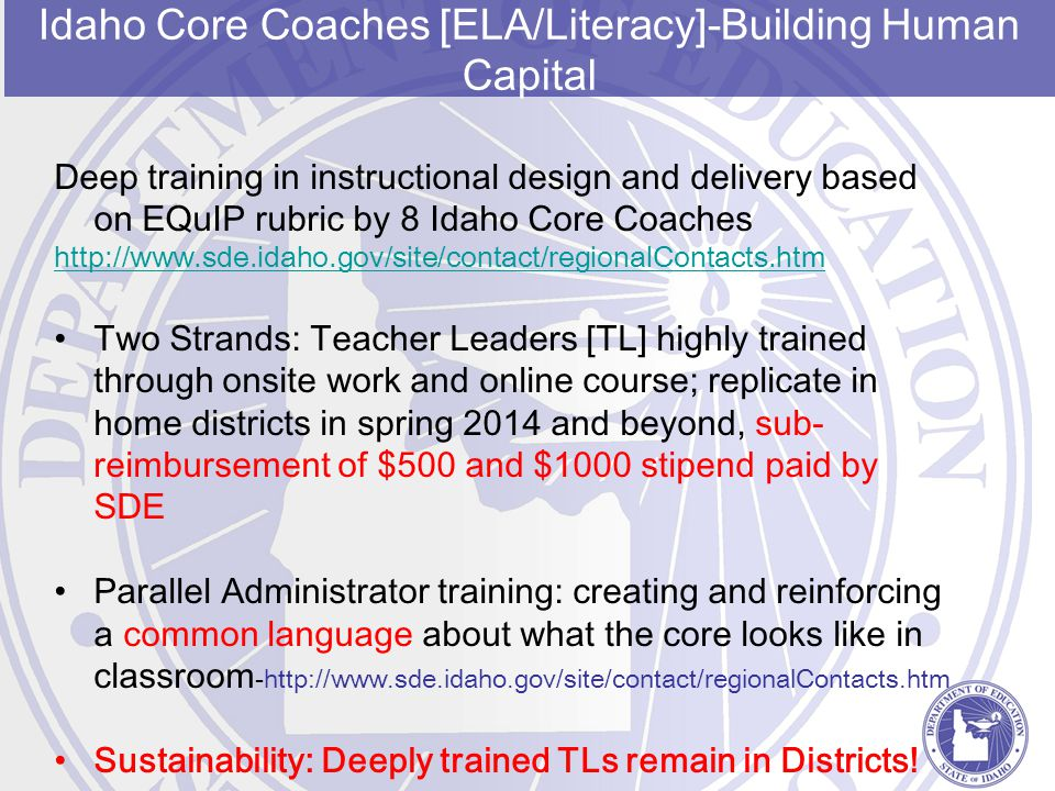 Idaho Core Coaches [ELA/Literacy]-Building Human Capital Deep training in instructional design and delivery based on EQuIP rubric by 8 Idaho Core Coac