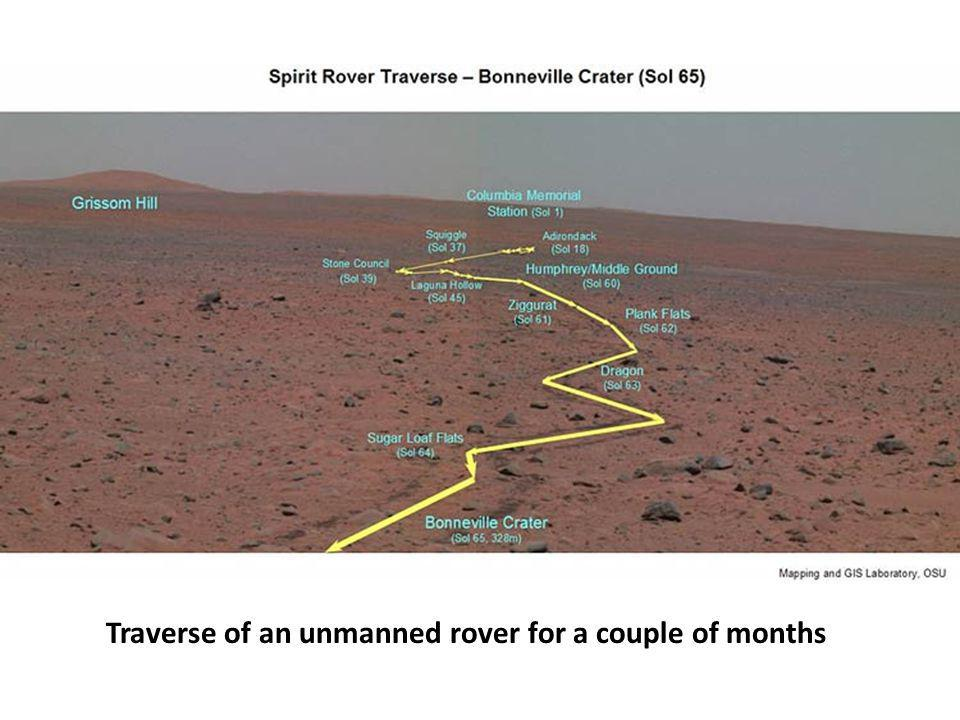 Traverse of an unmanned rover for a couple of months