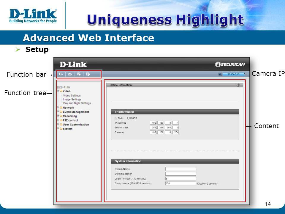 Function tree Content Function bar Camera IP Advanced Advanced Web Interface 14 Setup