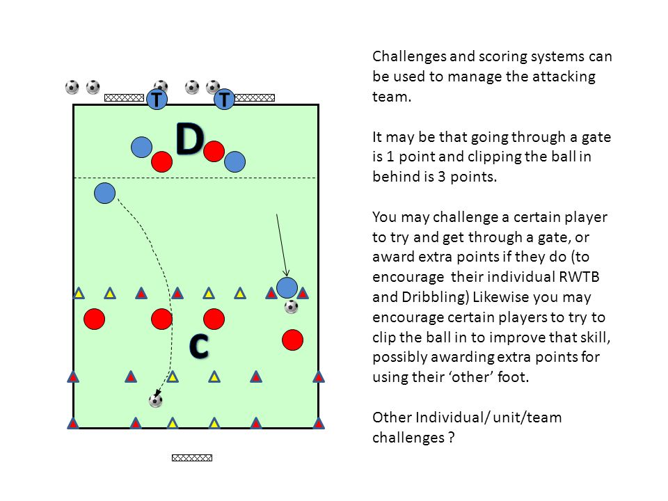 TT Challenges and scoring systems can be used to manage the attacking team. It may be that going through a gate is 1 point and clipping the ball in be