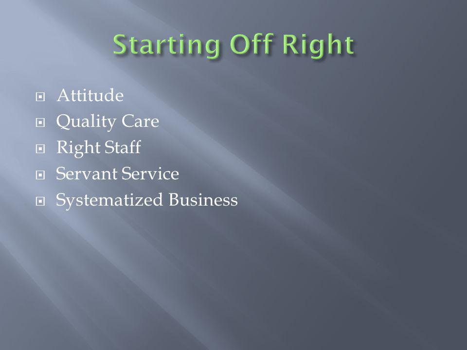 Attitude Quality Care Right Staff Servant Service Systematized Business