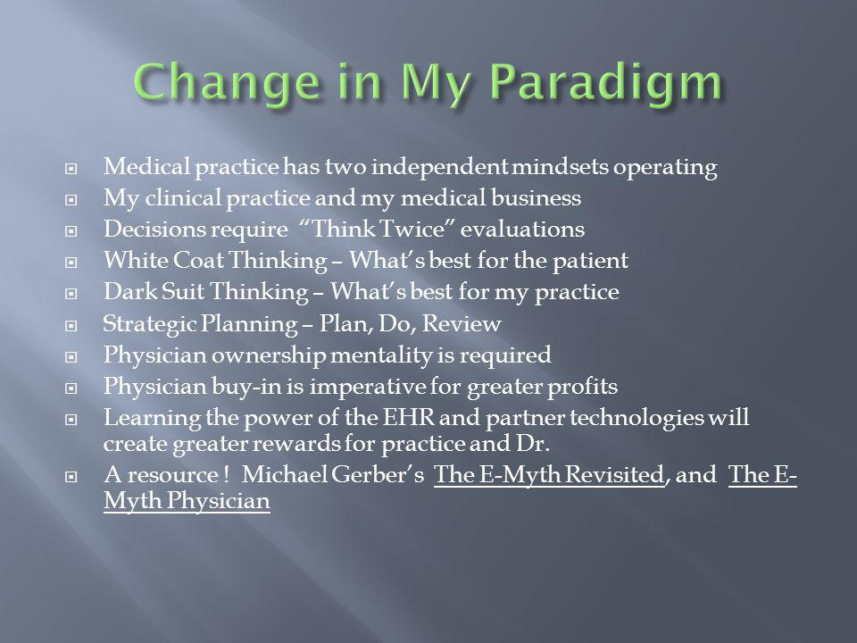 Medical practice has two independent mindsets operating My clinical practice and my medical business Decisions require Think Twice evaluations White Coat Thinking – Whats best for the patient Dark Suit Thinking – Whats best for my practice Strategic Planning – Plan, Do, Review Physician ownership mentality is required Physician buy-in is imperative for greater profits Learning the power of the EHR and partner technologies will create greater rewards for practice and Dr.