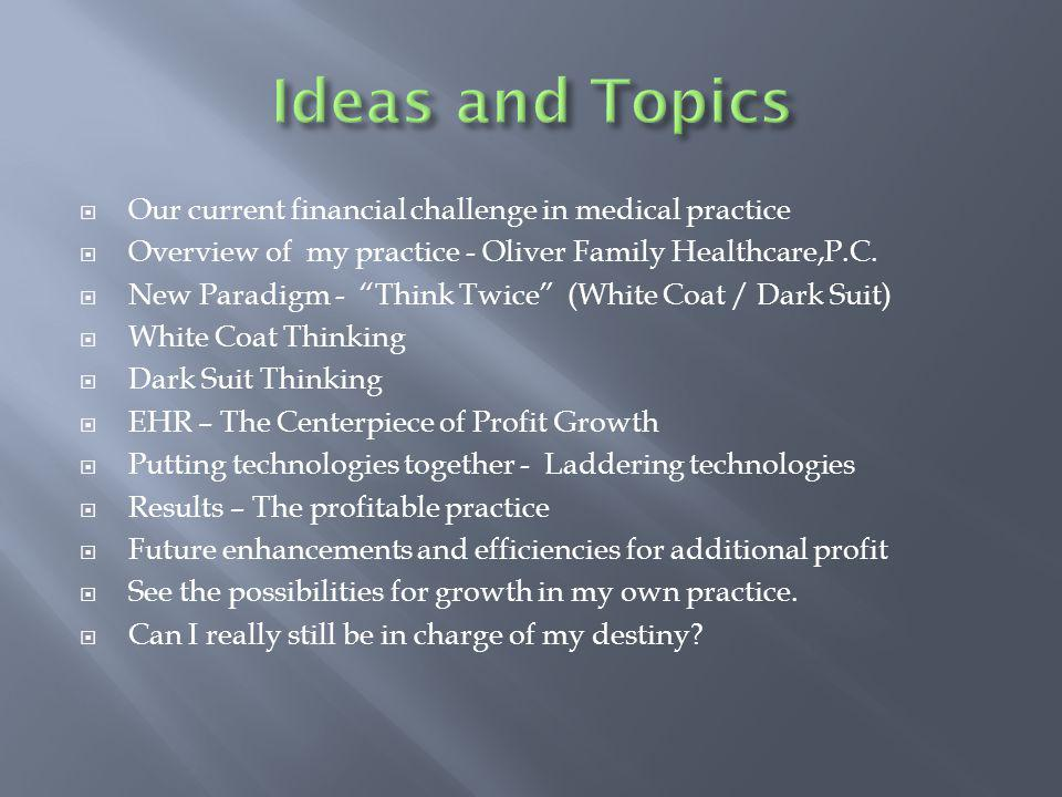 Our current financial challenge in medical practice Overview of my practice - Oliver Family Healthcare,P.C. New Paradigm - Think Twice (White Coat / D