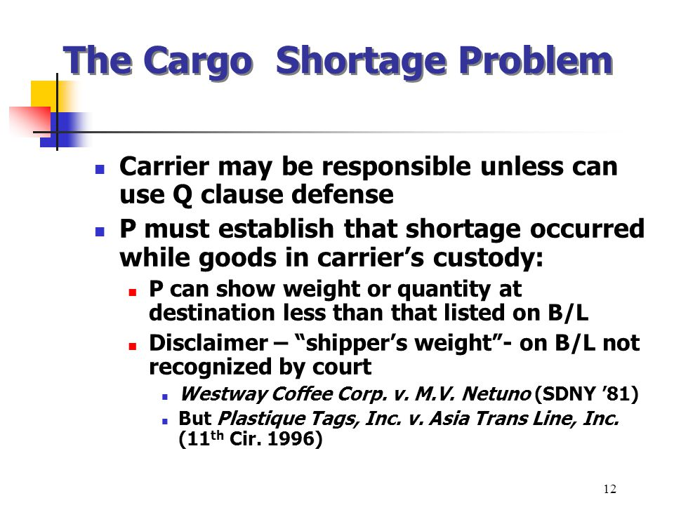 The Cargo Shortage Problem Carrier may be responsible unless can use Q clause defense P must establish that shortage occurred while goods in carriers