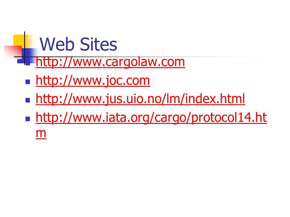 Web Sites http://www.cargolaw.com http://www.joc.com http://www.jus.uio.no/lm/index.html http://www.iata.org/cargo/protocol14.ht m http://www.iata.org