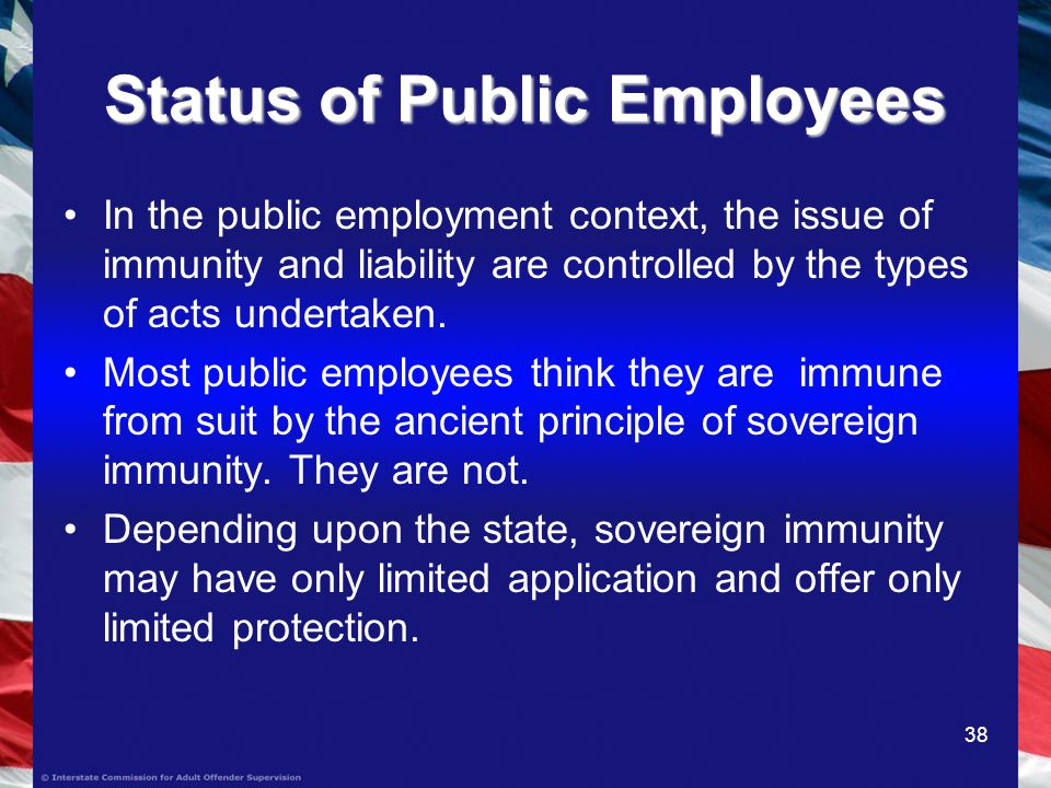 38 Status of Public Employees In the public employment context, the issue of immunity and liability are controlled by the types of acts undertaken.