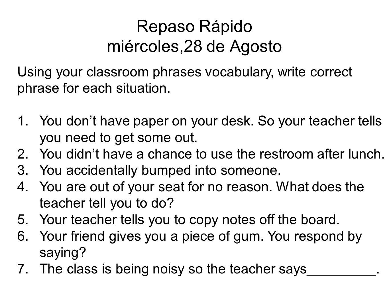 Agenda Repaso Rápido Matamoscas-Classroom Phrases Introduccion a los Cognados Cognados Reading Exercise Las Reglas de Cognados