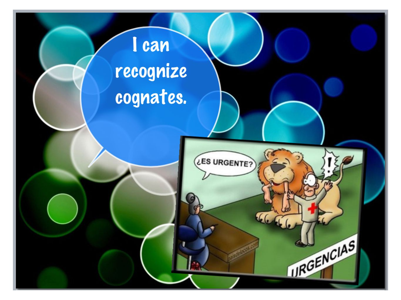 Teacher instructions 1.) Go over the first 2 slides that explain what a cognate is and show examples.