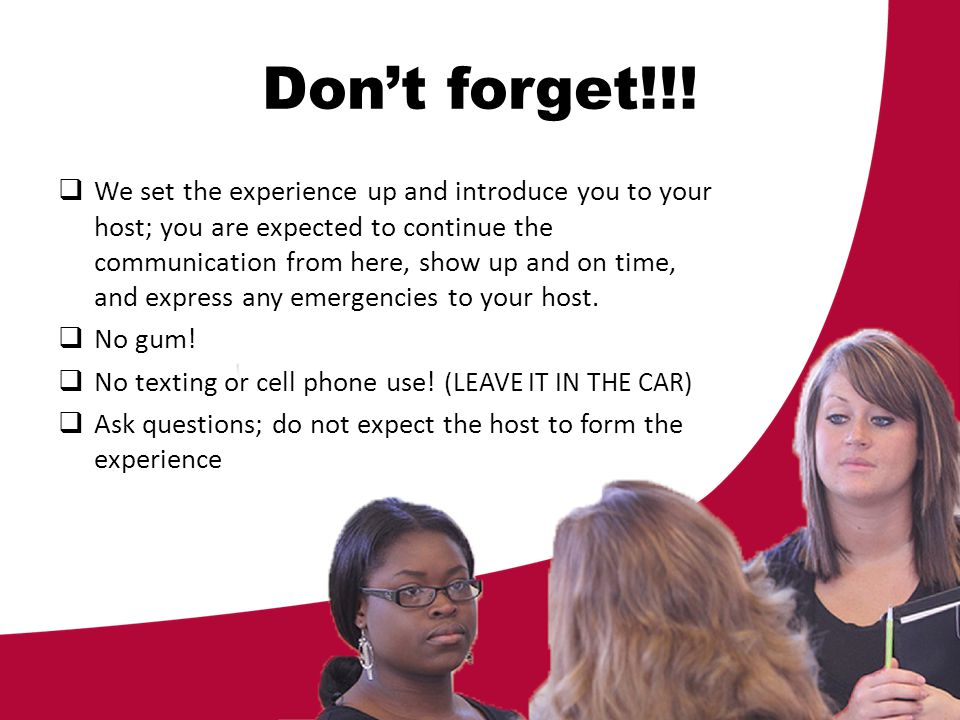 Dont forget!!! We set the experience up and introduce you to your host; you are expected to continue the communication from here, show up and on time,