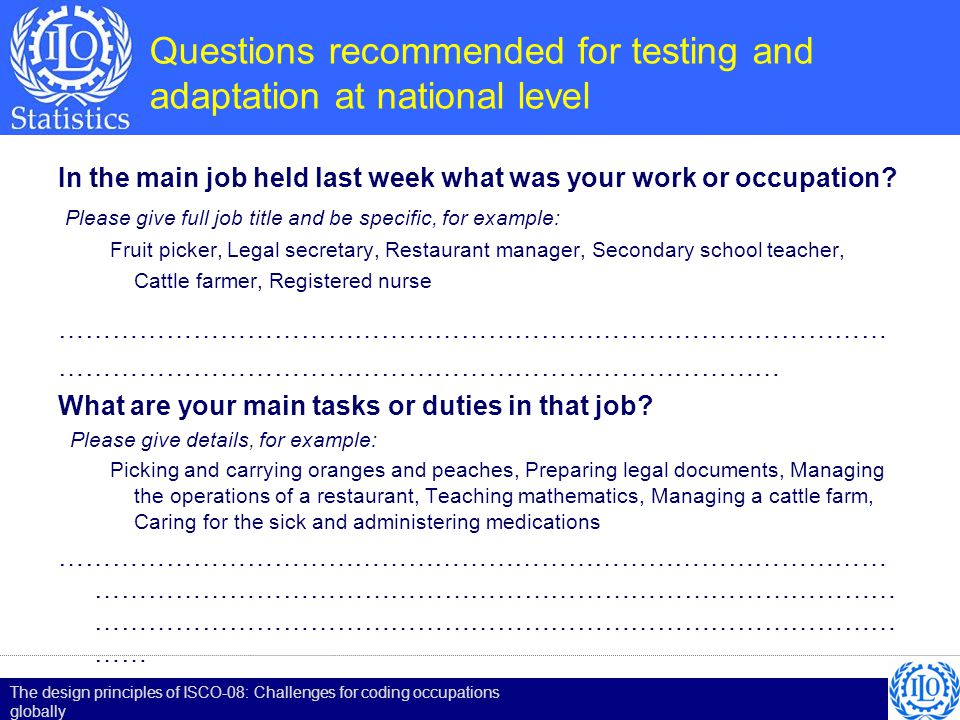 Questions recommended for testing and adaptation at national level In the main job held last week what was your work or occupation? Please give full j