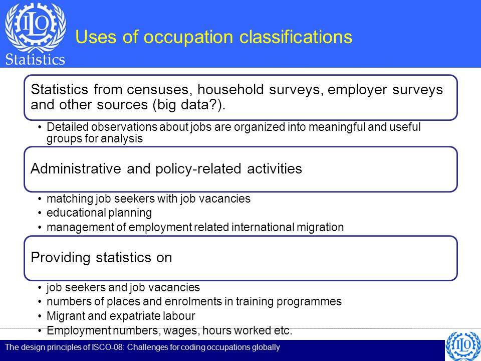 Occupation – multiple open- ended questions Use of separate questions on job title and tasks performed generally assures that sufficient detail is provided Asking for two different types of information helps the respondent to respond fully, for example: Title: Sales manager Tasks: Selling used cars Title: Customer service consultant Tasks: Selling used cars The design principles of ISCO-08: Challenges for coding occupations globally