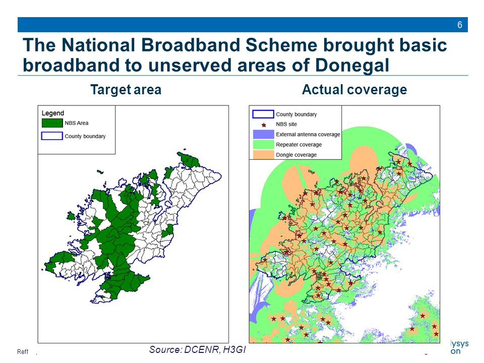 RefNo | Commercial in confidence The National Broadband Scheme brought basic broadband to unserved areas of Donegal 6 Source: DCENR, H3GI Target areaActual coverage