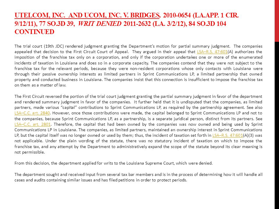 UTELCOM, INC. AND UCOM, INC. V. BRIDGES, 2010-0654 (LA.APP.