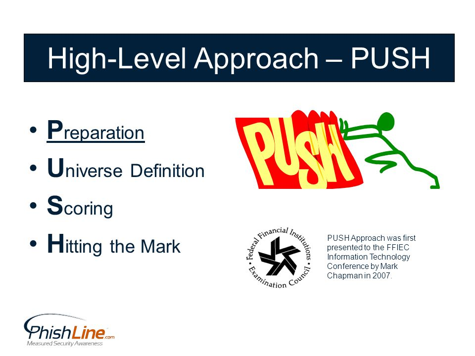 P reparation U niverse Definition S coring H itting the Mark High-Level Approach – PUSH PUSH Approach was first presented to the FFIEC Information Technology Conference by Mark Chapman in 2007.