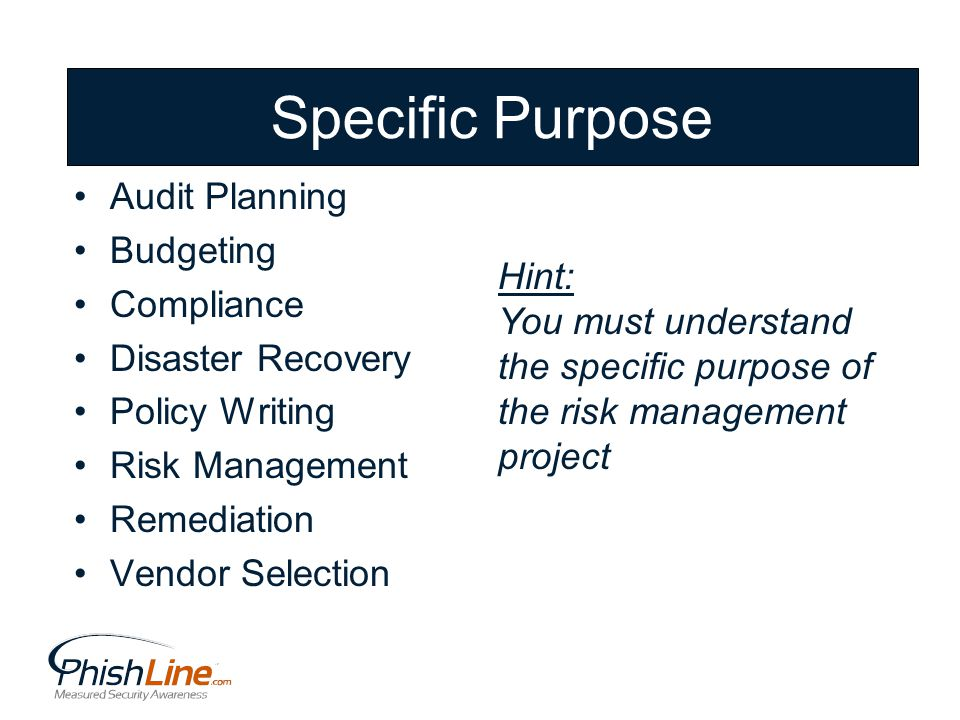 Specific Purpose Audit Planning Budgeting Compliance Disaster Recovery Policy Writing Risk Management Remediation Vendor Selection Hint: You must understand the specific purpose of the risk management project