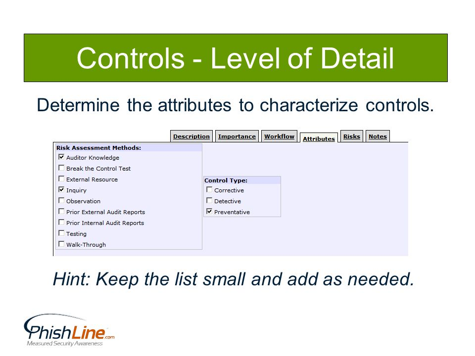 Controls - Level of Detail Determine the attributes to characterize controls.
