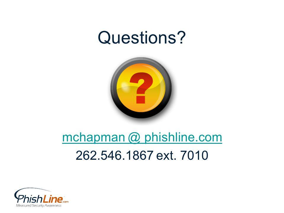 Questions? mchapman @ phishline.com 262.546.1867 ext. 7010