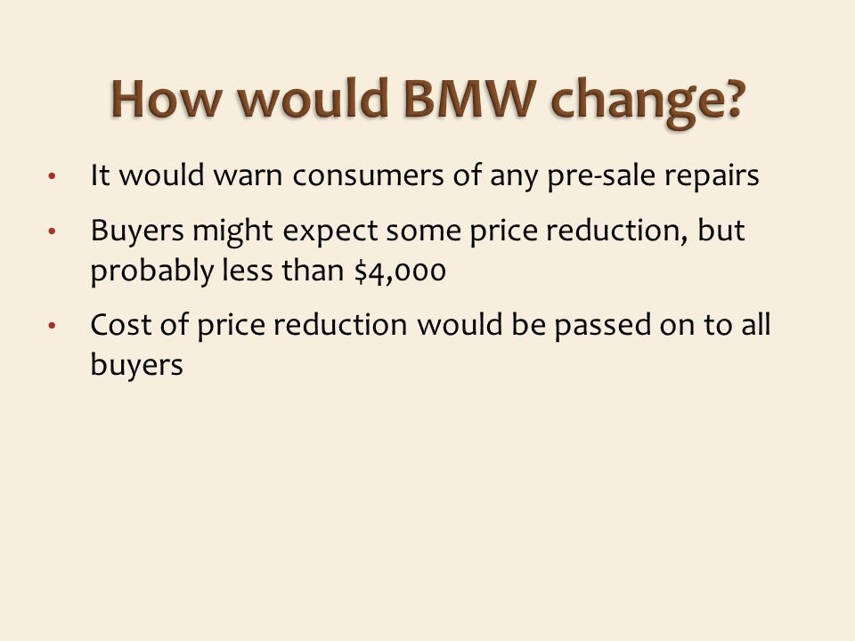 It would warn consumers of any pre-sale repairs Buyers might expect some price reduction, but probably less than $4,000 Cost of price reduction would be passed on to all buyers