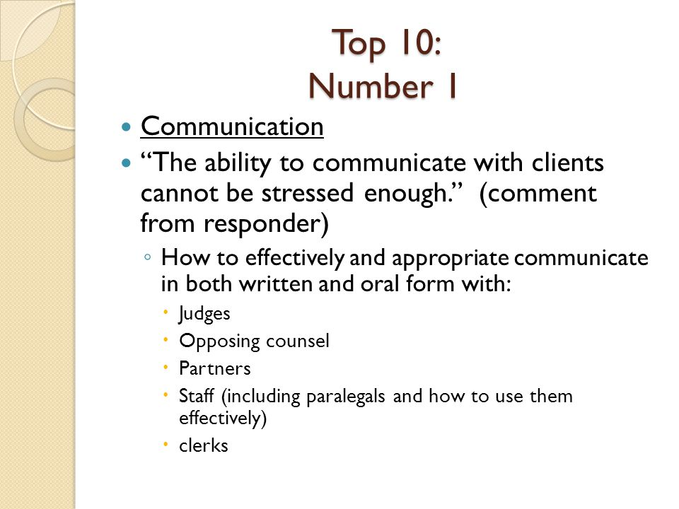 Top 10: Number 1 Communication The ability to communicate with clients cannot be stressed enough.