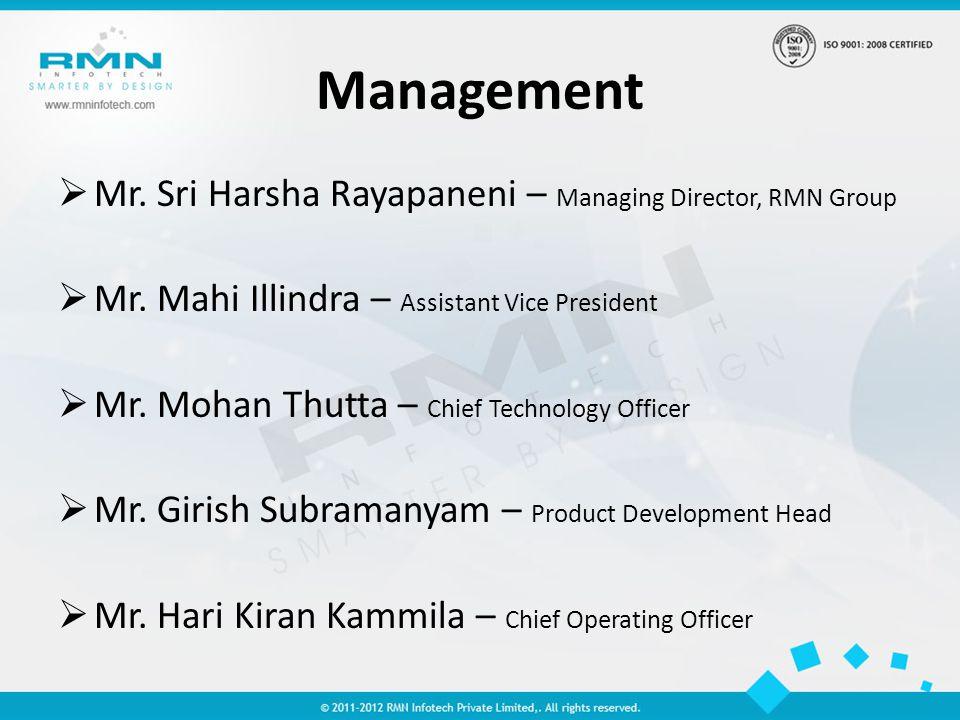 Management Mr. Sri Harsha Rayapaneni – Managing Director, RMN Group Mr.
