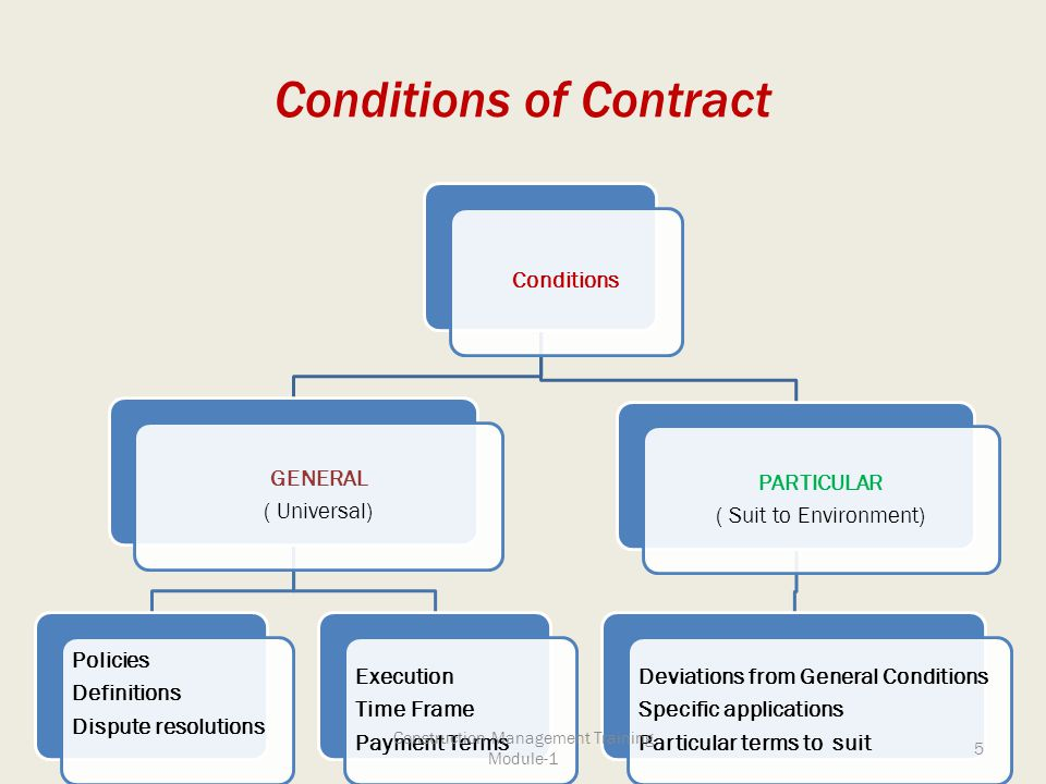 Conditions of Contract Conditions GENERAL ( Universal) Policies Definitions Dispute resolutions Execution Time Frame Payment Terms PARTICULAR ( Suit t