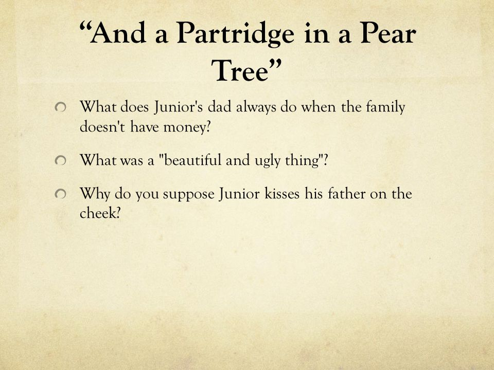 And a Partridge in a Pear Tree What does Junior's dad always do when the family doesn't have money? What was a