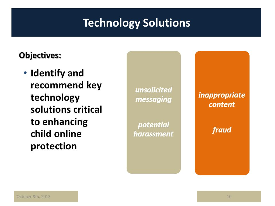 Technology Solutions Identify and recommend key technology solutions critical to enhancing child online protection October 9th, 201310 Objectives: inappropriate content fraud unsolicited messaging potential harassment