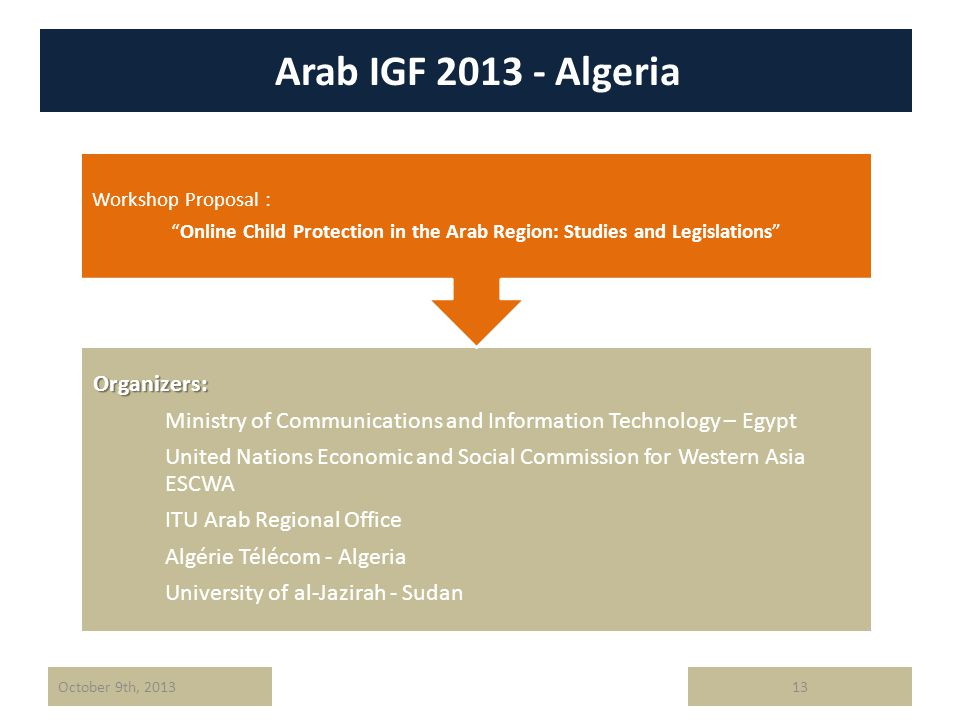 Arab IGF 2013 - Algeria 13October 9th, 2013Organizers: Ministry of Communications and Information Technology – Egypt United Nations Economic and Socia