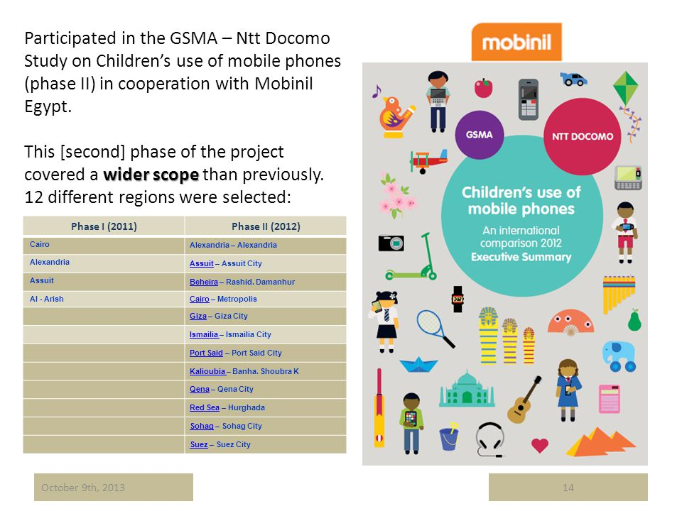 Participated in the GSMA – Ntt Docomo Study on Childrens use of mobile phones (phase II) in cooperation with Mobinil Egypt. wider scope This [second]