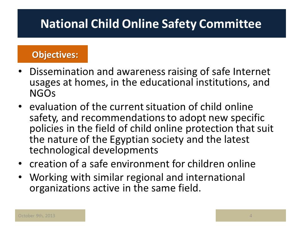 National Child Online Safety Committee Dissemination and awareness raising of safe Internet usages at homes, in the educational institutions, and NGOs