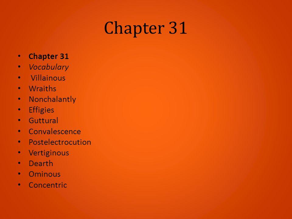 Chapter 31 Vocabulary Villainous Wraiths Nonchalantly Effigies Guttural Convalescence Postelectrocution Vertiginous Dearth Ominous Concentric
