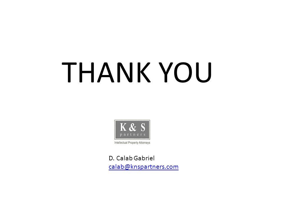 THANK YOU D. Calab Gabriel calab@knspartners.com