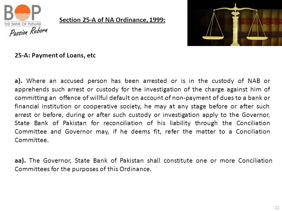 22 Section 25-A of NA Ordinance, 1999: 25-A: Payment of Loans, etc a). Where an accused person has been arrested or is in the custody of NAB or appreh