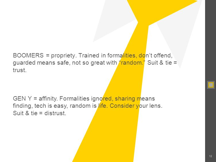 12 BOOMERS = propriety. Trained in formalities, dont offend, guarded means safe, not so great with random. Suit & tie = trust. GEN Y = affinity. Forma