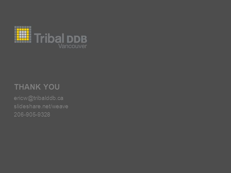 THANK YOU ericw@tribalddb.ca slideshare.net/weave 206-905-9328