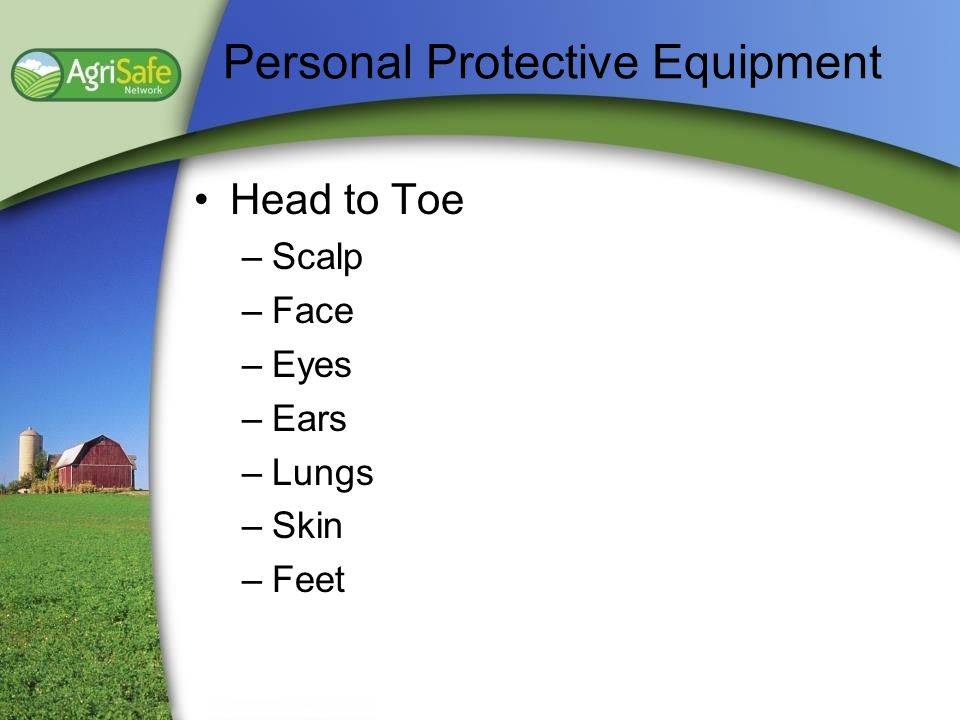 Personal Protective Equipment Head to Toe –Scalp –Face –Eyes –Ears –Lungs –Skin –Feet