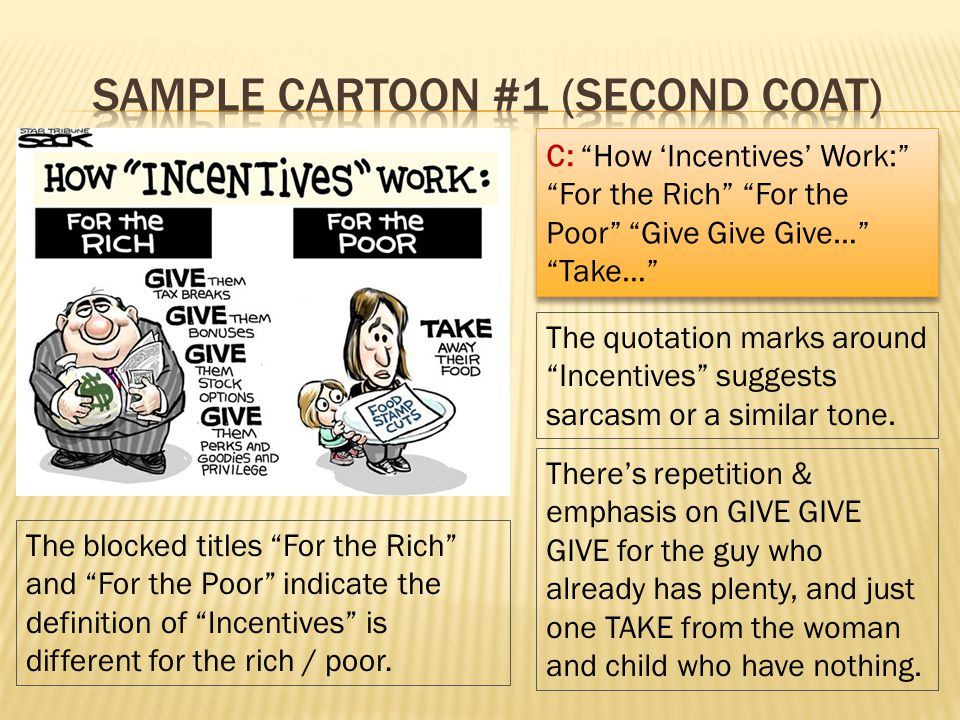C: How Incentives Work: For the Rich For the Poor Give Give Give… Take… The quotation marks around Incentives suggests sarcasm or a similar tone. Ther