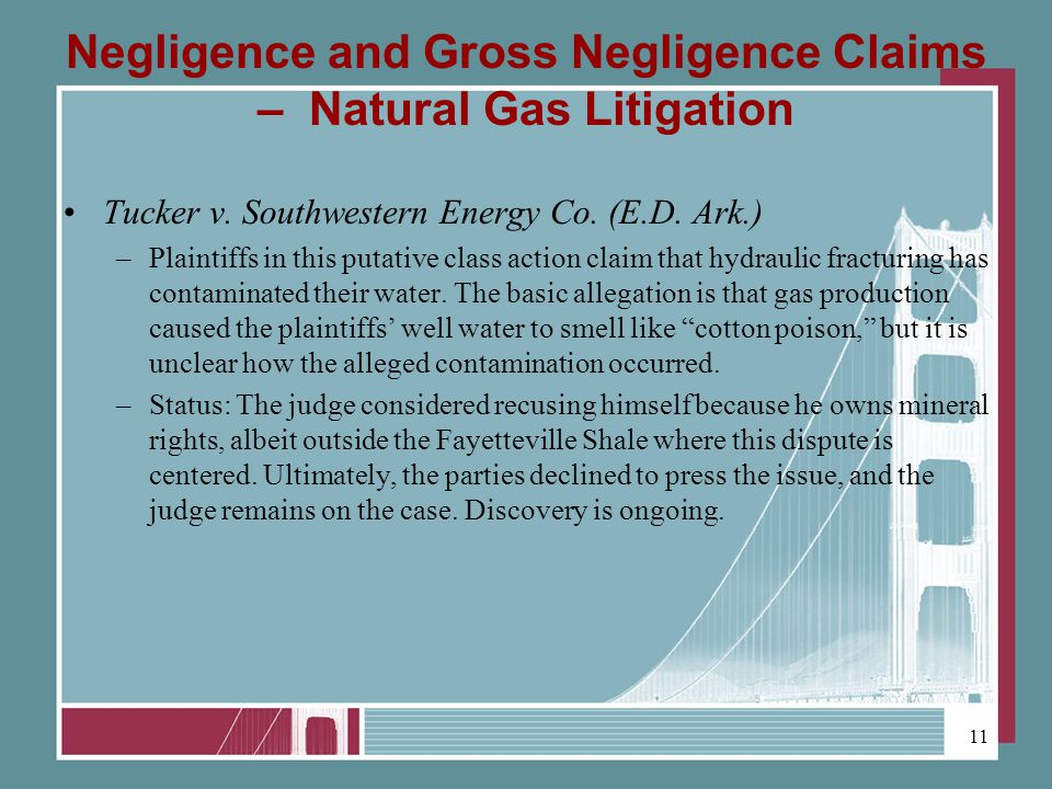 Negligence and Gross Negligence Claims – Natural Gas Litigation Tucker v.