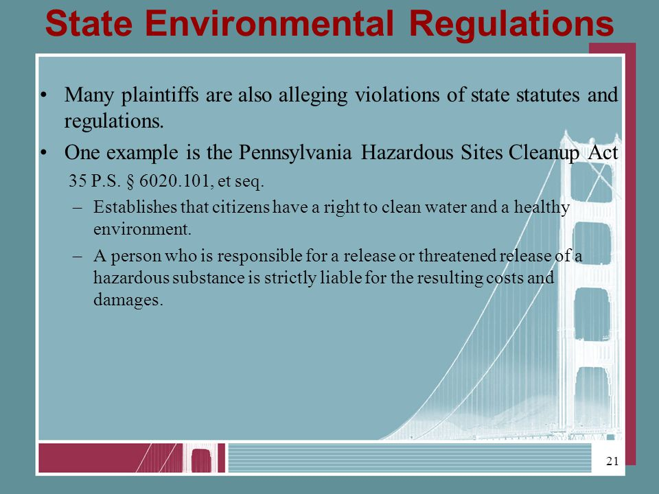 State Environmental Regulations Many plaintiffs are also alleging violations of state statutes and regulations.