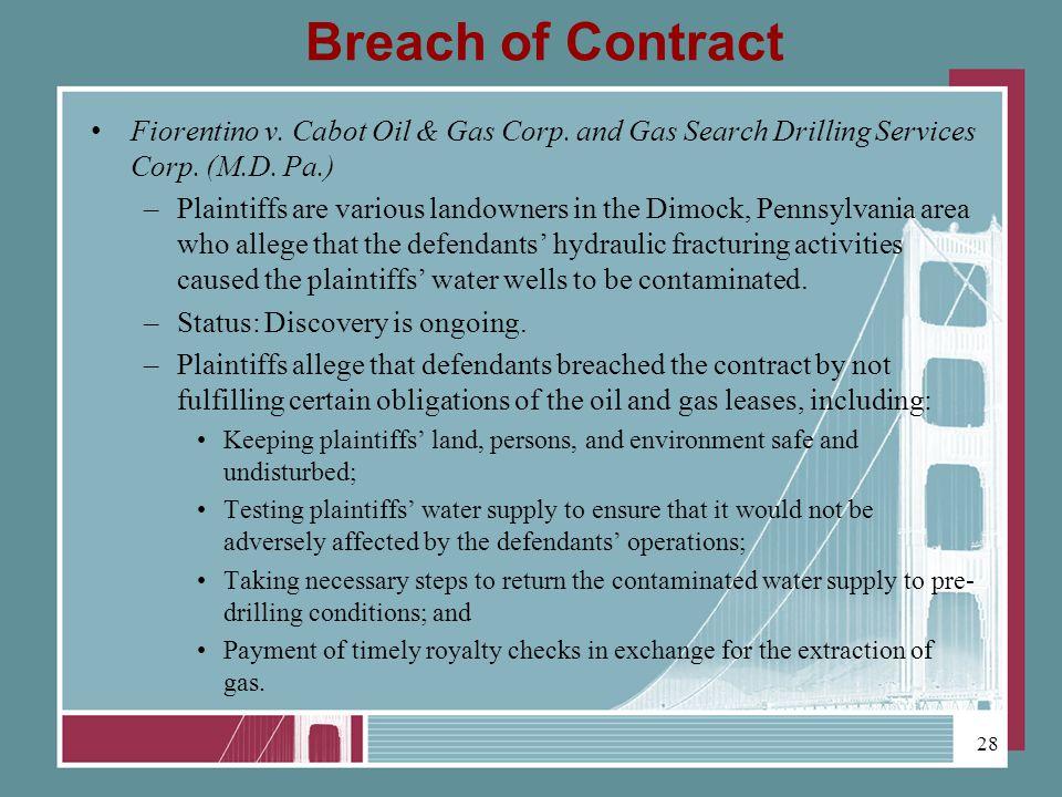 Breach of Contract Fiorentino v. Cabot Oil & Gas Corp.