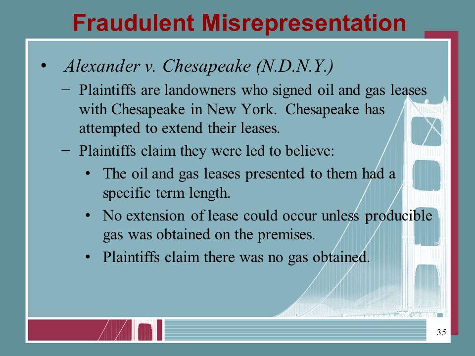 Fraudulent Misrepresentation Alexander v.