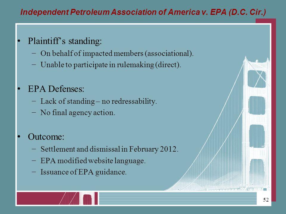 Independent Petroleum Association of America v. EPA (D.C.