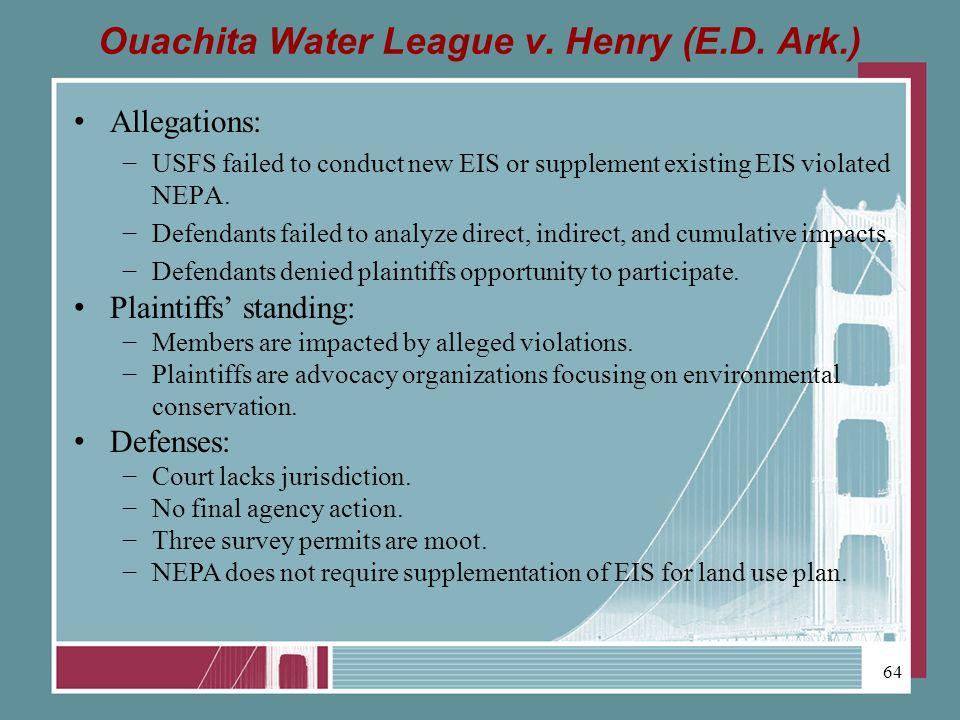 Ouachita Water League v. Henry (E.D.