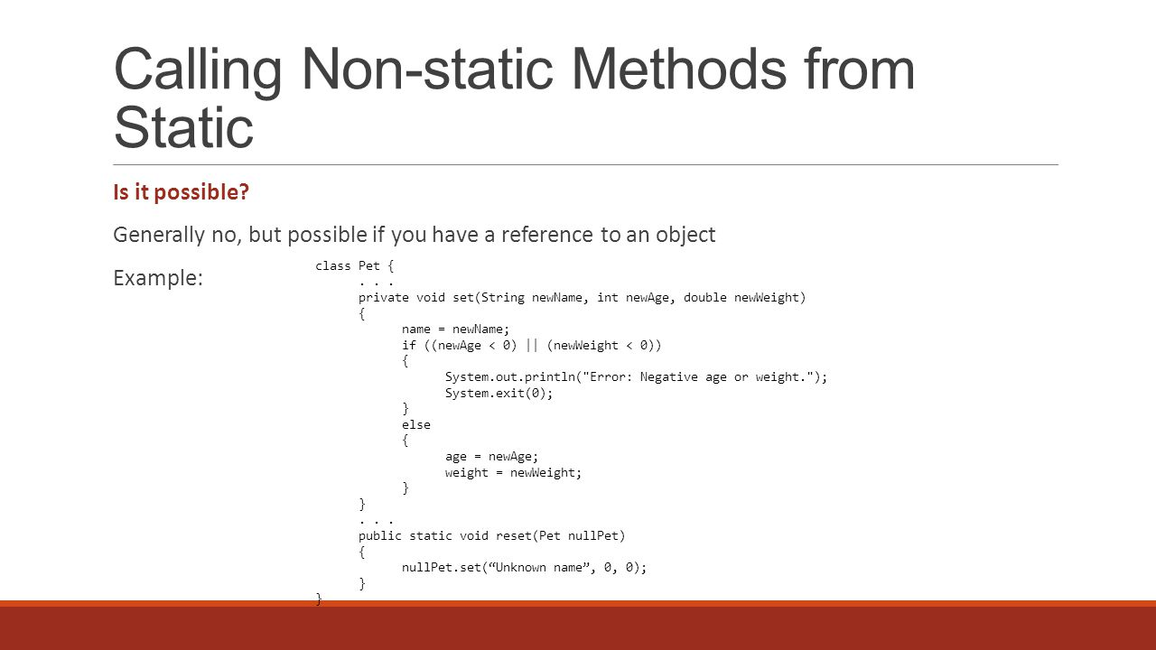 Calling Non-static Methods from Static Is it possible.